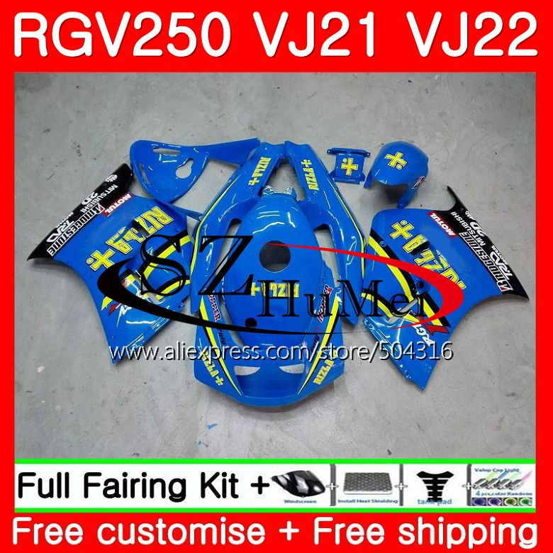 Bodys For SUZUKI VJ21 RGV250 88 89 90 91 92 93 101SH.3 RGV-250 VJ22 RGV 250 1988 1989 1990 1991 1992 1993 Fairings RIZLA blue