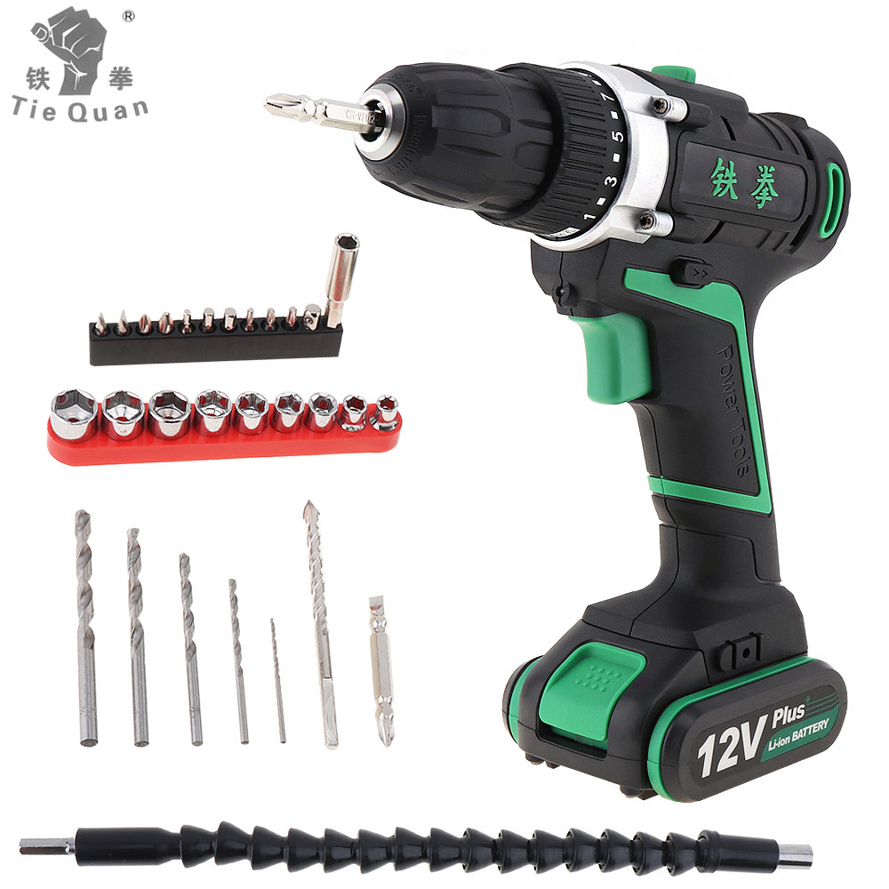 12V Rechargeable Lithium Battery Cordless Electric Drill Screwdriver with Rotation Adjustment 29pcs Screw Driver Accessories Set