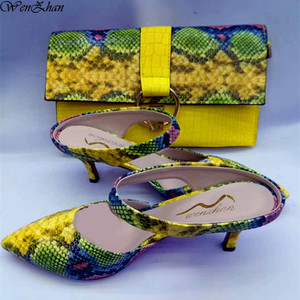 Image 1 - WENZHAN Hot sale yellow snake PU leather 7CM short heel fashion soft shoes pointed toe With Matching Clutch Bags Sets 079 19