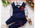 BibiCola primavera outono meninos outfits conjuntos de roupas de natal produtos Do Bebê roupa dos miúdos definir meninos babi falsos 2 pcs t-camisas + calças