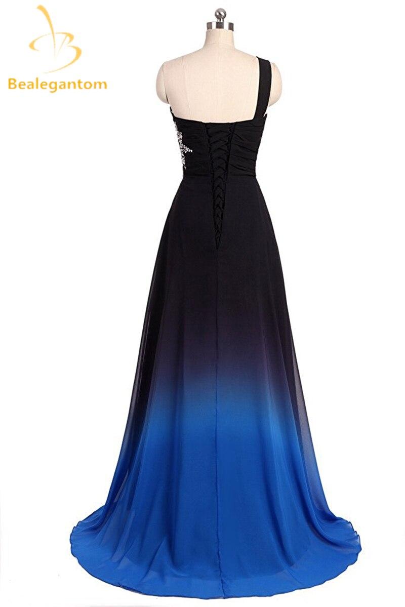 Bealegantom One Shoulder Black Blue Ombre Prom Dresses 2018 With ...