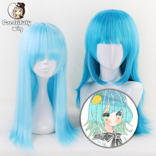 Aotu World Sky Blue Long Cosplay Wig With Bangs 60cm 65cm lemon Straight Synthetic Hair Halloween Costume Party Wigs For Women цена