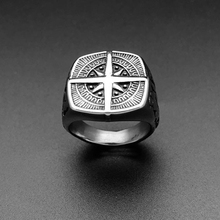 New Mens Ring Simple Design Compass Ring Silver Stainless Steel fashion Black Band Rings For Women Men Navigator Rings Jewelry dmlsky king of rock rings jewelry black silver punk ring for women and mens stainless steel ring couple rings m2816