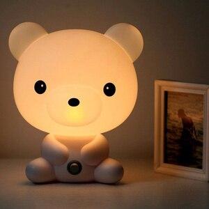 Cute Baby Room Cartoon Night Sleeping Light Kids Bed Lamp Night Sleeping Lamp with Panda/Dog/Bear Shape(China)