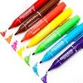Двойные маркеры с двумя головками  12 цветов  перманентные масляные ручки с чернилами  канцелярские и школьные принадлежности