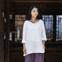 Chinese Style Vintage Long Sleeve Women Blouse Shirt Autumn New Cotton Linen Casual Shirt Solid White