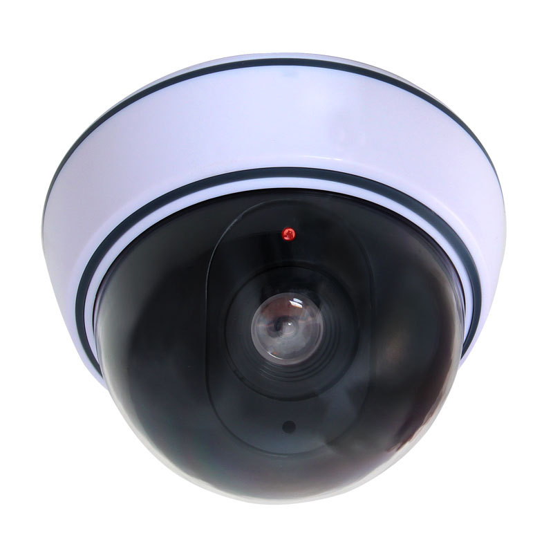 Black Plastic Smart Indoor//Outdoor Dummy Home Dome Fake CCTV Security Camera with Flashing Red LED Light CA-05