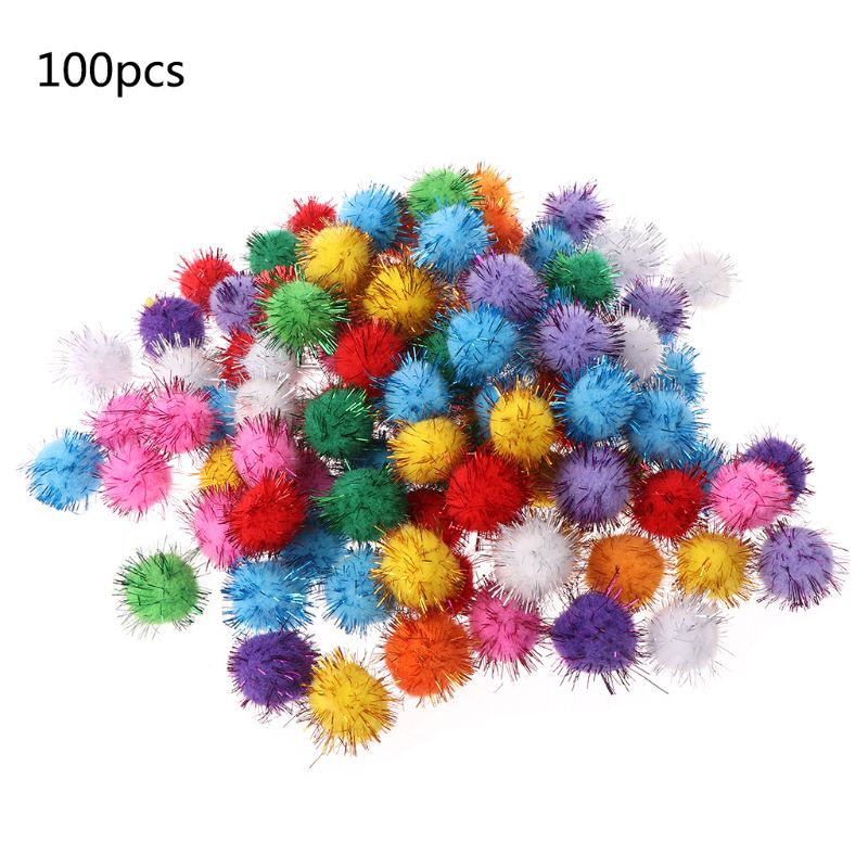 100Pcs 25mm Mini Fluffy Soft Pom Poms Pompoms Glitter Ball Handmade Kids Toys DIY Sewing Craft Supplies Mixed Color