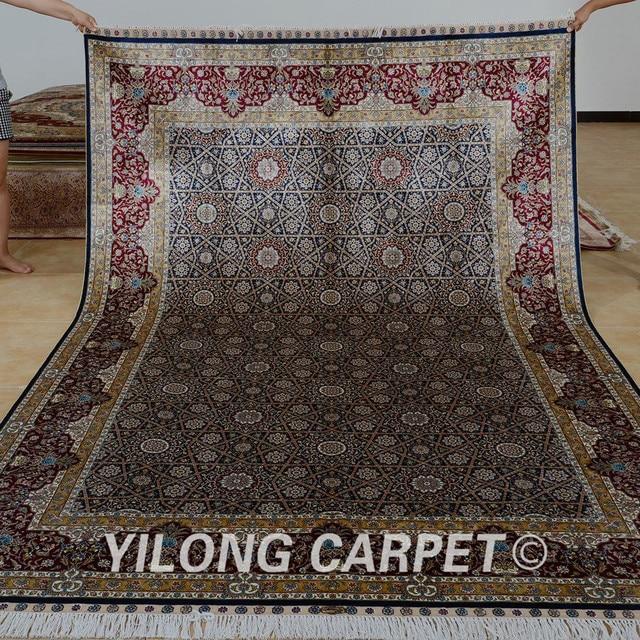 Yilong 6 56 X9 84 Hereke Silk Rug Dark Green Vantage Turkish Carpet
