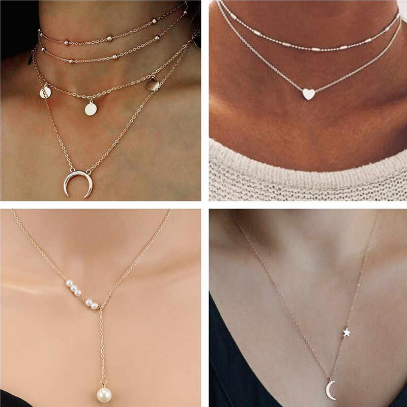 Tenande Simple Style Multi-Layer Moon Leaves Feather Heart Chain Necklaces & Pendants for Women Valentine's Day Gifts Berloque