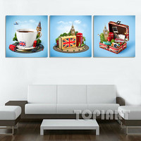 3 Piece Creative City Print London Travel Poster Painting England In Suitcase Art Prints Wall Decor