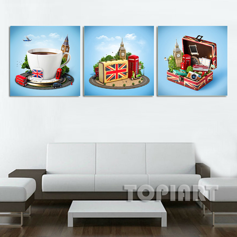3 piece creative city print london travel poster painting for Home decor london
