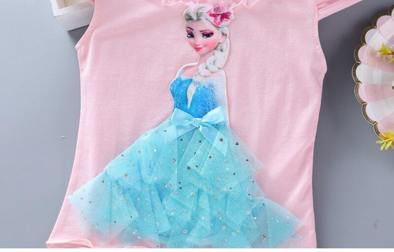Girls New Summer Princess T-Shirt Elsa Childen Cotton Tees Lace T Shirt 3D Diamond Appliques Kids Birthday Party Top Clothing 7
