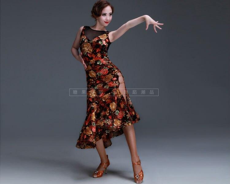 Ballroom Dress Polyester sexy Real Tango Dress Latin Dance For Sexy Design New Adult Women Ballroom Waltz Sets Shirt+skirt