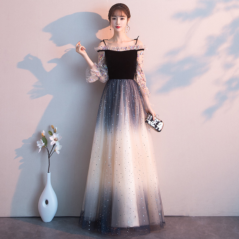 Beauty Emily   Evening     Dresses   Gradient Color Shining Sequined Wedding Formal   Dress   Spaghetti Strap Star Tulle Long Party Gowns