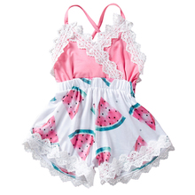 Infant girls Rompers Newborn backless strap cotton clothes for baby watermelon printed summer clothing