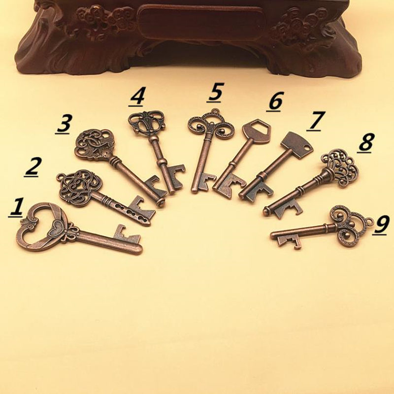 Key Shape Beer Bottle Opener Vintage Retro Keychain Opener Key Ring Metal Bronze/Silver Portable Gifts F20173023