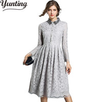 New Arrive Vestidos Women Fashion Casual Long Lace Dress Winter Sequined Crochet Long Sleeve Slim Party