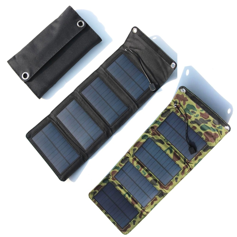 7W 5.5V Portable Solar Panel Foldable Camping Travel Solar Charger For Cellphone Mobile Tablet Kits USB Battery Charging Pack