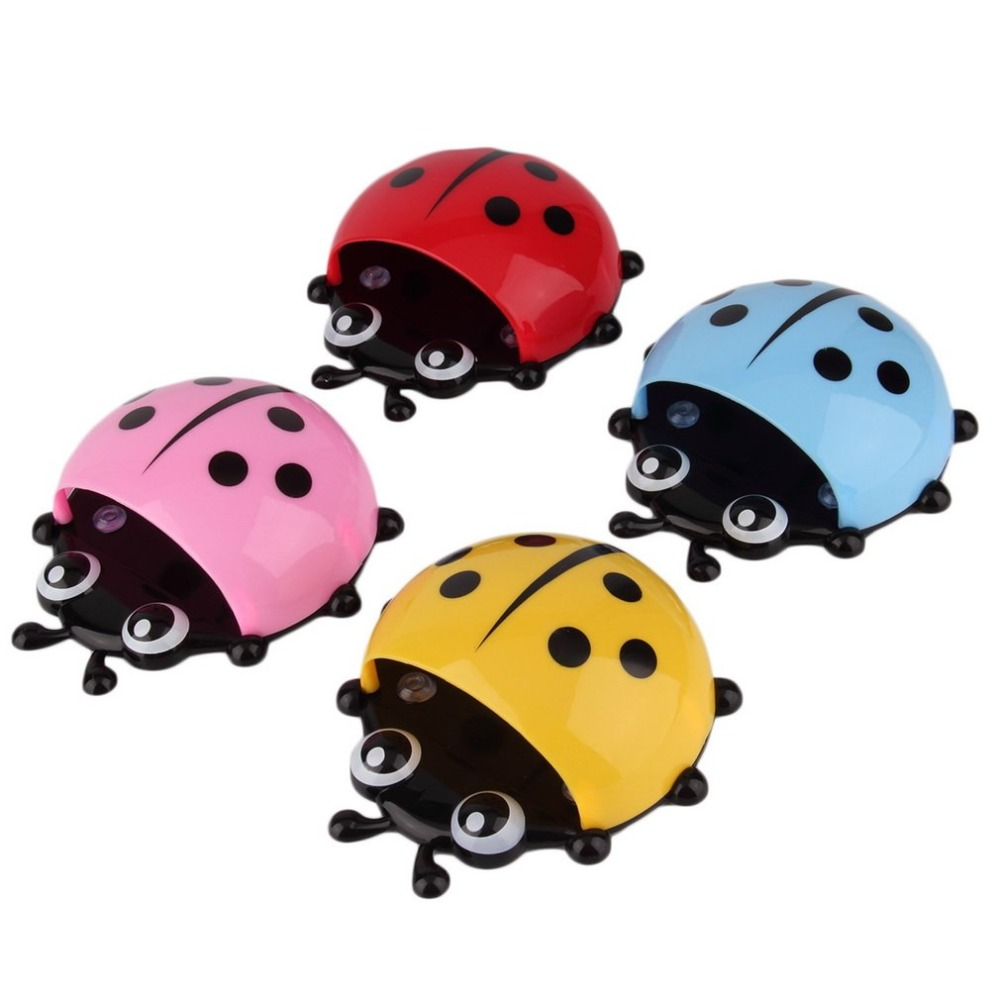 1PC Ladybug Toothbrush Holder Toiletries Bathroom Toothpaste Holder Wall Suction Hooks Tooth Brush Container Organizer