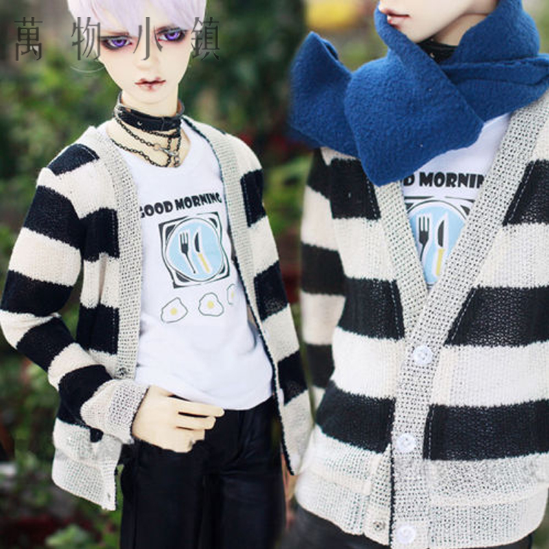 Hot Sale Black White Stripe Wool Leisure Cardigan/Coat For SSDF SD17 1/4 Uncle MSD BJD Clothes fashion bjd doll retro black linen pants for bjd 1 4 1 3 sd17 uncle ssdf popo68 doll clothes cmb67