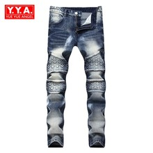 2018 Primavera New Fashion Men's do Motociclista Jeans Full Length Calças Slim Fit Homem Streetwear Pintar Para Pant Calca Masculina plus Size