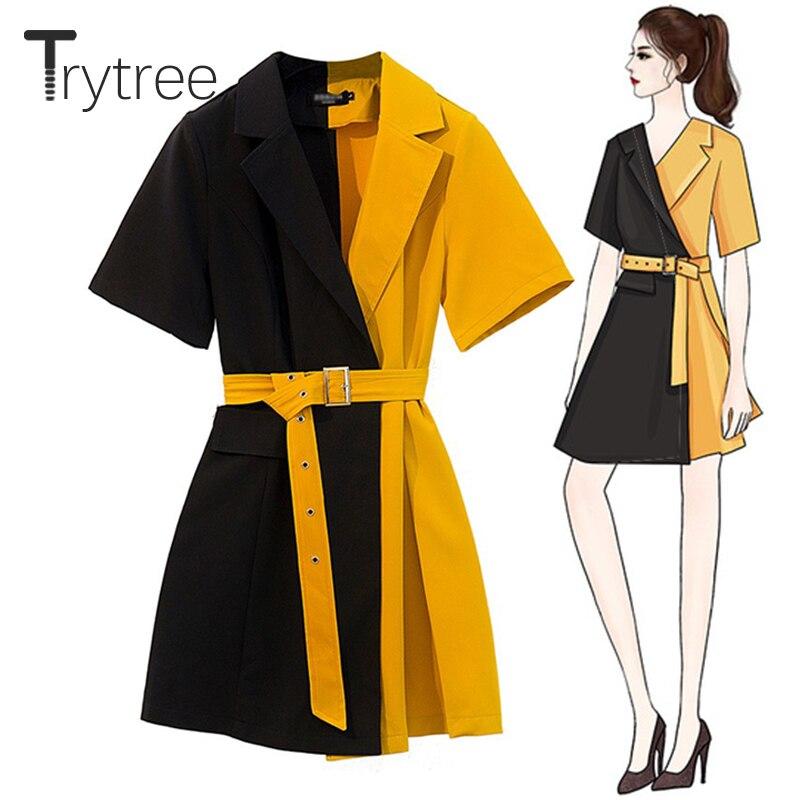 Платье Trytree женское, повседневное, офисное, с отложным воротником, желтое, с черным поясом, из полиэстера, а-силуэта