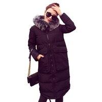2016 Winter Coat Women's Ultra Long Down Jacket Women White Duck Down Parka with Fur Hooded