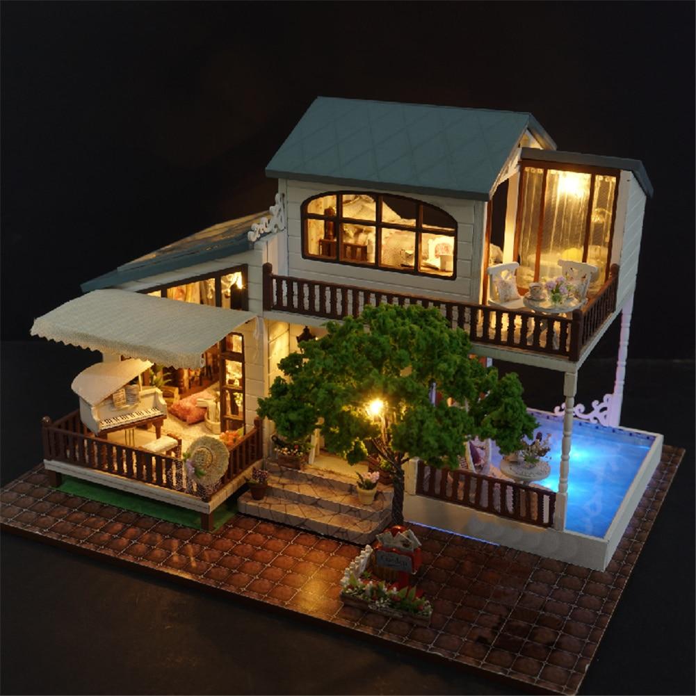3D Holz Puzzle Luxus Villa DIY Handgemachte Möbel Miniaturen Puppenhaus Gebäude Modell Hause Schreibtisch Dekoration Geschenk Für Kinder-in Figuren & Miniaturen aus Heim und Garten bei  Gruppe 2