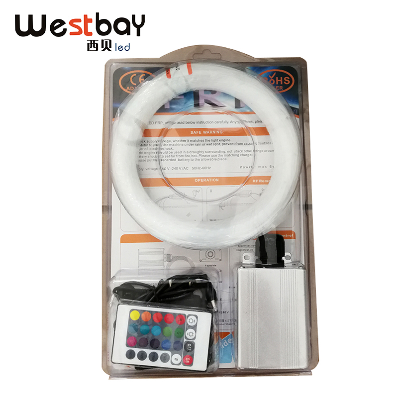 Westbay 6W RGB Optic Fiber Light Kit PMMA Plastic Optical Fiber Kit For Car Decoration Ceiling Star End Glow Fiber Optic Cable car use 6w rgb fiber optic star ceiling light kit 1 0mm 120pcs 2m 18key rf optical fiber light engines