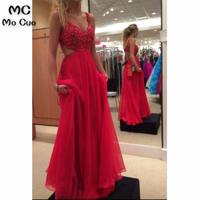 Elegant 2019 Red   Prom     dresses   Long with Crystals Beaded Spaghetti Straps Tulle   dress   for graduation Formal Evening   Prom     Dress