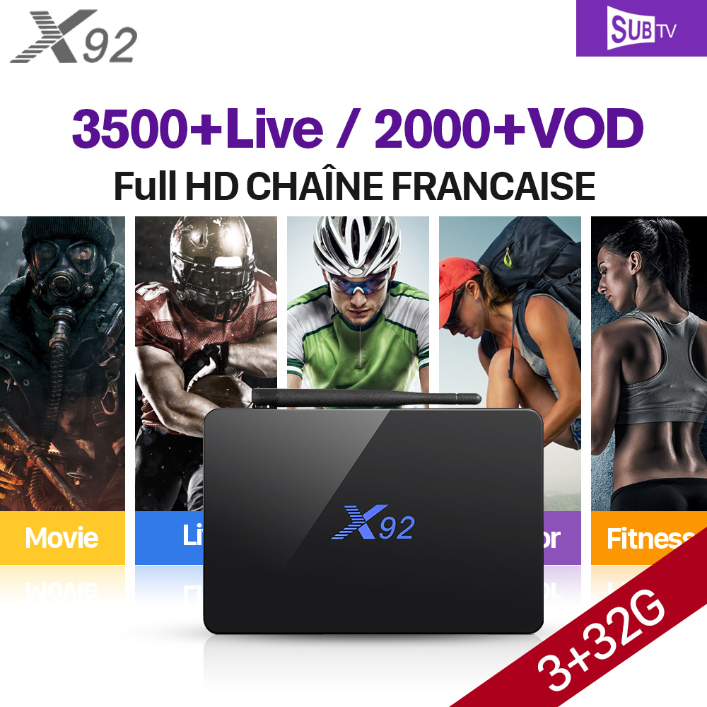 Arabic IPTV X92 TV Box Amlogic S912 3GB 32GB IPTV Europe French Arabic Subtv Code IPTV Subscription Turkish French IPTV Top Box full hd french iptv arabic brazil iptv box android 6 0 smart tv box subtv code subscription 3500 turkish albania ex yu iptv box