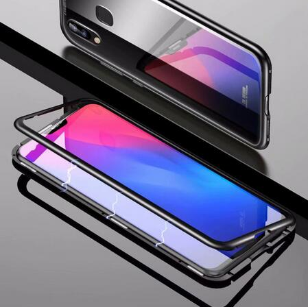 best sneakers d33a8 56b1b US $10.79 10% OFF|Magneto Magnetic Adsorption metal case for Vivo V9 Vivo  Y85 case luxury tempered glass cover for Vivo V9-in Fitted Cases from ...