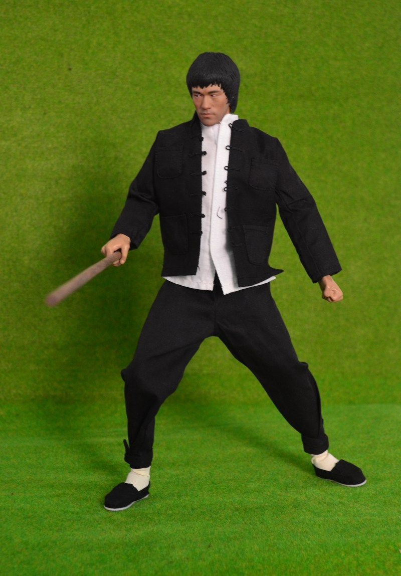 1/6th Collectible figure doll Kung Fu star Bruce Lee with stick 12 action figure doll Super Flexible Plastic Model Toy . No box kung fu panda 3 po piggy bank pvc action figure collectible model toy kids gift 18cm
