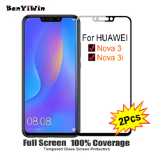 2PCS Full Cover Screen Protector Tempered Glass For Huawei nova 3 3i 6 30 9H Protective