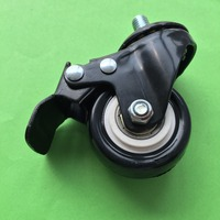 1pc J232Y PVC Screw Rod Universal Wheel With Brake 2 Inch Model Foot Wheel Black Plastic