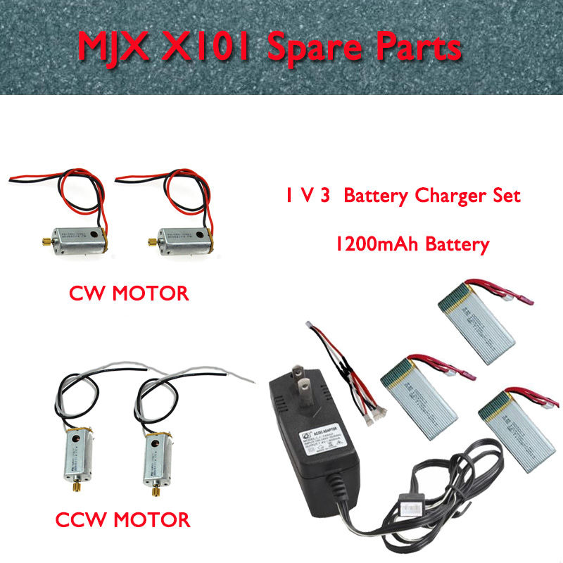 Blueskysea 3in1 Cable+AC Charger+3pcs 1200mAh Batteries+Servo Motor (CCW&CW) For MJX X101 RC Drone 3pcs battery and european regulation charger with 1 cable 3 line for mjx b3 helicopter 7 4v 1800mah 25c aircraft parts