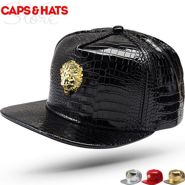 2017 Pelle di Alta Qualità Logo Personalizzato Leone Osso Diamante di Snapback  cappelli PU Nero Berretto