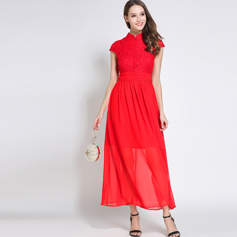Summer Female Floor Length Maxi Dress Vestidos Women Mandarin Collar ...