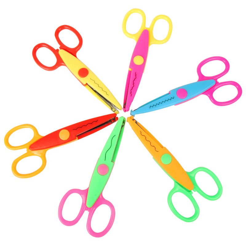 6 Pcs Laciness Scissors Metal And Plastic DIY Scrapbooking Photo Colors Scissors Paper Lace Diary Decoration With 6 Patterns
