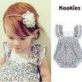 Venda quente Bonito Crianças Da Menina Da Cópia Floral Bodysuits Rendas Menina Coreana Bebê Macacão Roupa Do Bebê de Uma Peça KD488