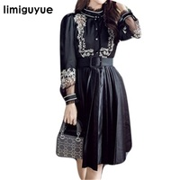 Limiguyue High Quality Embroidery Vintage Black Party Dress Women Long Sleeve Belt Big Swing Pleated Autumn