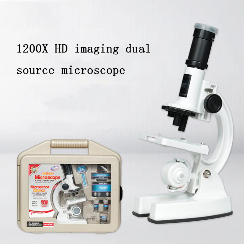 200X-600X-1200X Zoom Biomicroscope optique biomicroscopie enfants éducation Science Kit outils