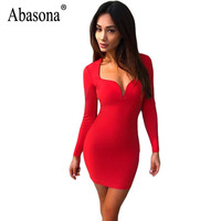 Abasona Women Dresses Sexy Deep V Neck Long Sleeve Bodycon Pencil Dress Elegant Ladies Evening Party