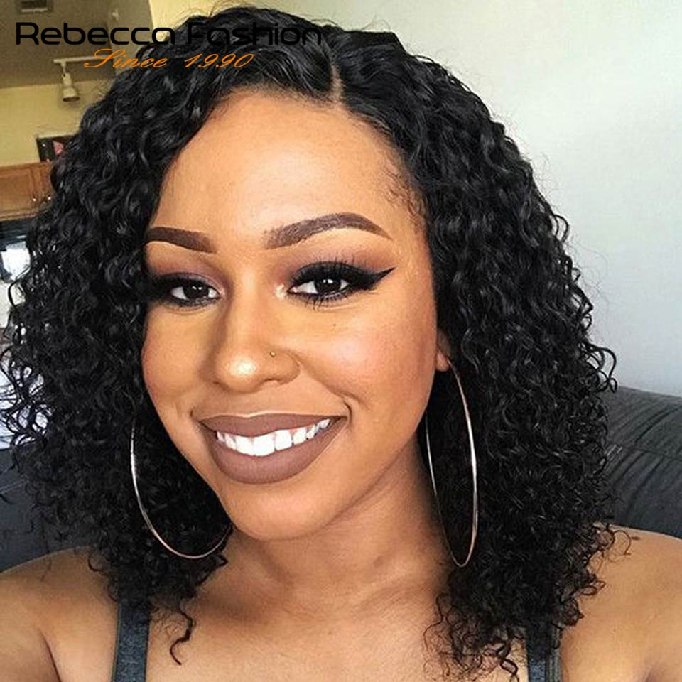 Rebecca Wet And Wavy Lace Front Human Hair Wigs For Women Peruvian Remy Hair Short Curly Bob Wig 12 Inch Color #2 Free Shipping