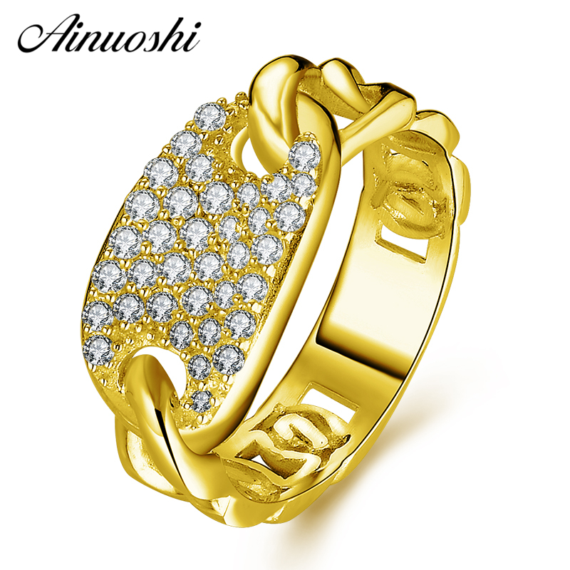 AINUOSHI 10K Solid Yellow Gold Twisted Ring Shinning CZ Cluster Ring Luxury Bridal Band Ring Wedding Engagement Women Jewelry