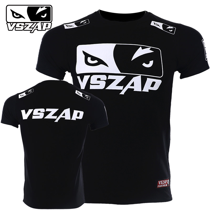 VSZAP WOLF EYES Boxing Training T-Shirt MMA Tee Kickboxing Muay Thai Training Fightwear Cotton Breathable Gym Running T Shirt