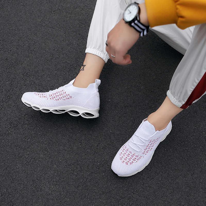 Casuales de los hombres hoja Hombre corriendo onda baloncesto Tenis zapatillas de deporte de roca Zapatos de deporte profecía corriendo único volar de malla transpirable