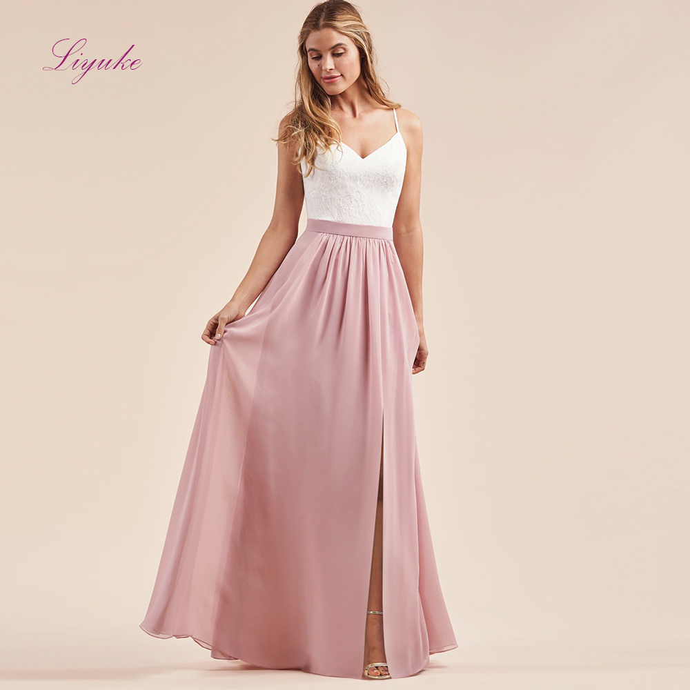 Liyuke Chiffon A Line Bridesmaid Dress Two-piece Long Dress Lace Appliques Spaghetti Straps With Skirt Customized
