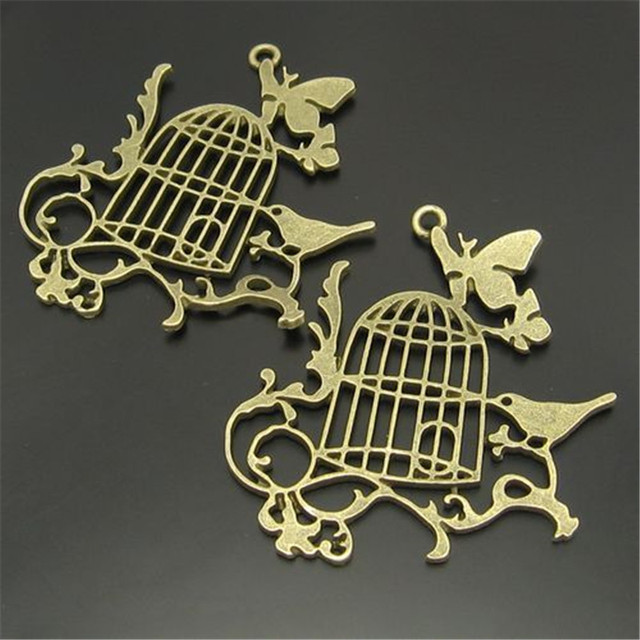 6pcs Beauty Necklace Pendant Women Vintage Style Bronze Tone Alloy Bird Cage Branch Erfly Charm